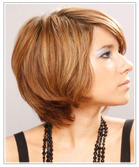 Model with short copper hair