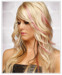 Model with long blonde hair and pink highlights