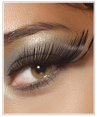 Brunette model with fake eyelashes