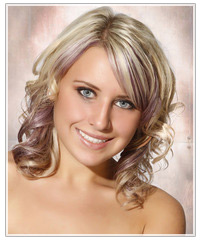 Model with blonde hair and purple highlights