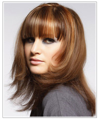 Model with brown hair and blunt bangs