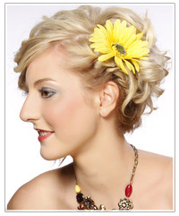 Model wearing a flower hair clip