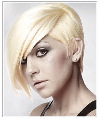 Model with short platinum blonde hair