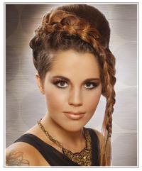 Model with plaited updo