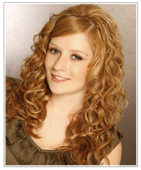 Model with curly copper hair