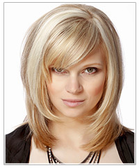 Model with blonde textured layers