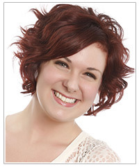 Model with short wavy red hair