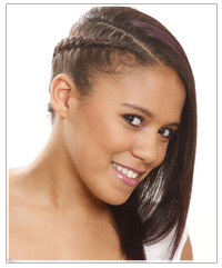 Model with braided hairstyle