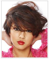 Model with short brunette hair