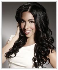 Model with shiny black hair