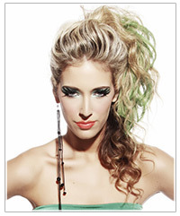 Model with curly upstyle