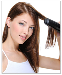 Model with hair straightener