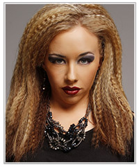 Model with crimped hair