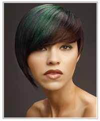 Model with short green highlighted hair