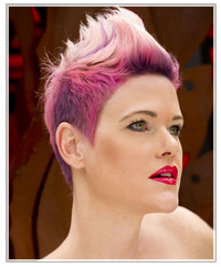 Model with pink and purple short hair