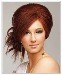 Model with crimped updo