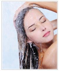 Model washing her hair