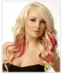Model with platinum blonde hair and pink lips