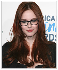Hairstyles For Long Hair With Glasses : looks ravishing in red hair and black frames. Her long layered hair ...