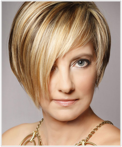Model with short highlighted hair