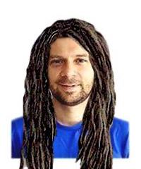 Roger wearing Lenny's dreads