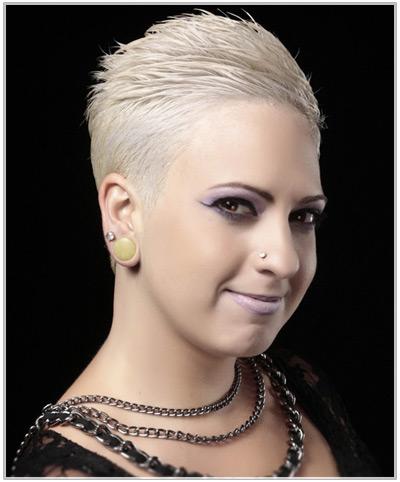 Short, white blonde hairstyle