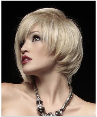 Asymmetrical white blonde hairstyle
