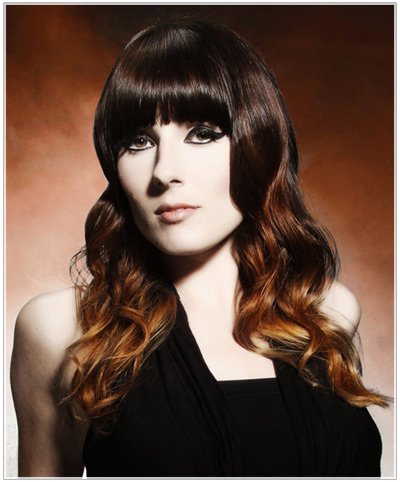 Model with ombre hair color