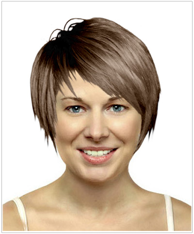 Model with short side-swept hair