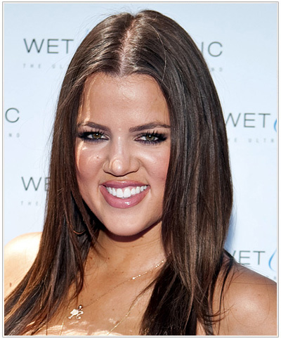 Khloe Kardashian Long Straight Hairstyle - Medium Brunette