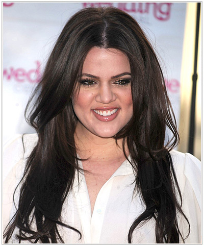 Khloe Kardashian Long Wavy Hairstyle - Medium Brunette