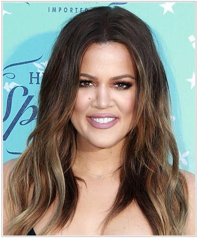 Khloe Kardashian Long Straight Hairstyle - Dark Brunette