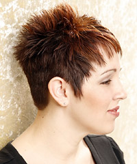 Brown spiked pixie haircut