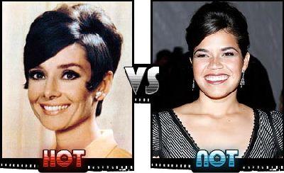 Audrey Hepburn and America Ferrera hairstyles