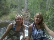 Angie and Cindy Adamski taking a break above one of the several waterfalls they toured in Marinette County on July 17 (Photo by Cindy Adamski)