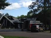 Heavy damage shown on the roof of Shaffer's Supper Club in the Crivitz, Wis. area (Photo by Clare Kaley, WBAY-2)