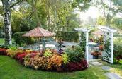 A terrace garden at Homestead Inn