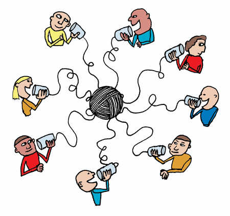 Stock Illustration People Connected Via Telephone
