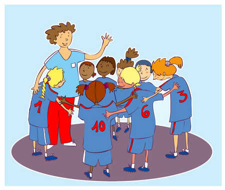 stock illustration a kids soccer team with the coach