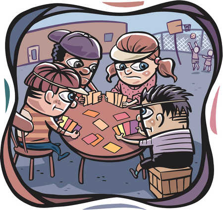 Kids Playing Card Games Clip Art A group of kids playing poker and two kids playing basketball in the