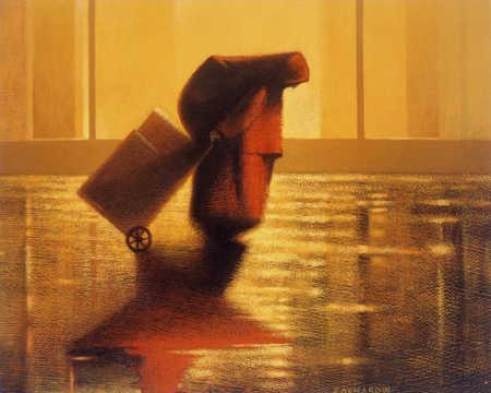Woman pushing wooden boxes in rain