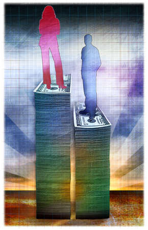 Woman standing on stack of money next to man on lower stack of money