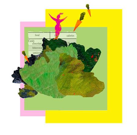 Woman standing on head of lettuce
