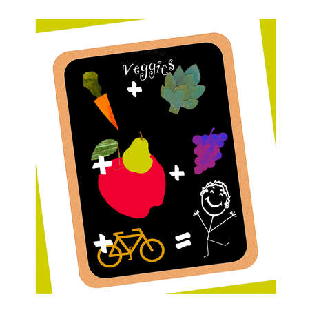 Fruit, vegetables, bicycle and smiling stick figure forming equation on blackboard