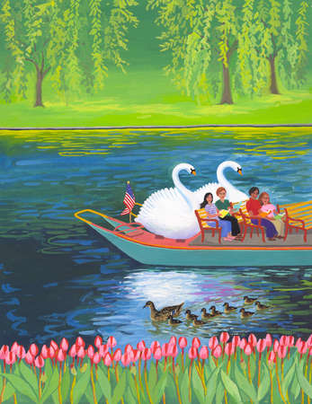 Couples riding in boat on lake with ducks and swans
