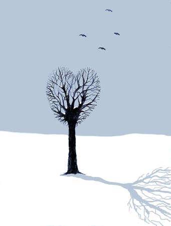 Birds flying above barren heart-shape tree