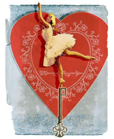 Prima Ballerina standing on key in front of heart
