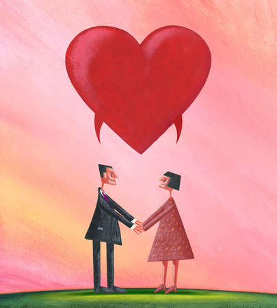 Man and Woman Holding Hands with Heart as Speech Bubble