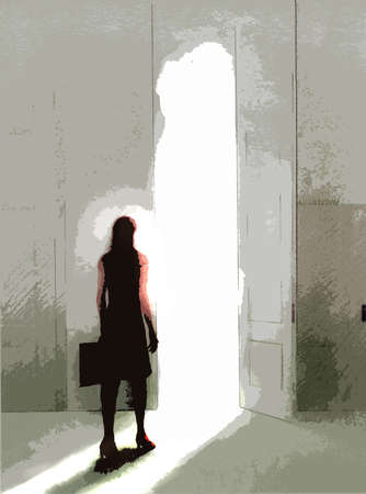Businesswoman with briefcase walking through open door bathed in light