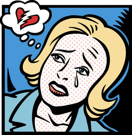 Cartoon of broken heart in thought bubble above crying woman